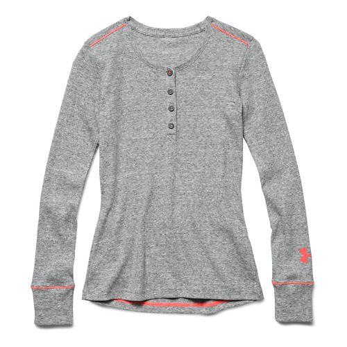 Kids Under Armour Henley Long Sleeve No Zip Technical Tops - True Gray Heather YS ...