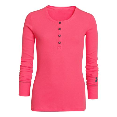 Kids Under Armour Henley Long Sleeve No Zip Technical Tops - Pink Shock YS