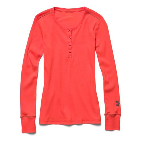 Kids Under Armour Henley Long Sleeve No Zip Technical Tops - After Burn YL