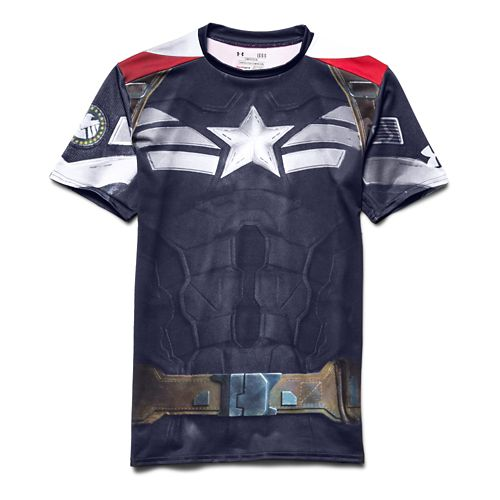 Mens Under Armour Alter Ego Compression Captain America Short Sleeve Technical Tops - Midnight ...