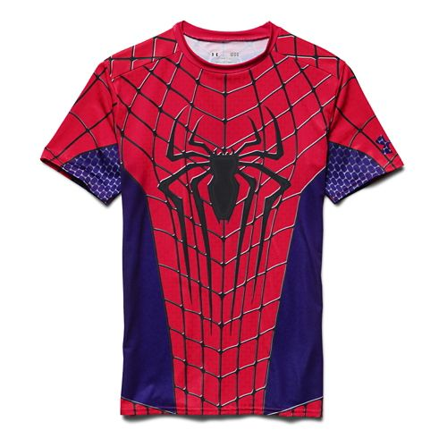 Mens Under Armour Amazing Spiderman Compression Shirt Short Sleeve Technical Tops - Red/Royal XXL