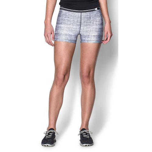 Womens Under Armour Heatgear Armour Compression Printed Shorty Lined Shorts - Black/Grey XS