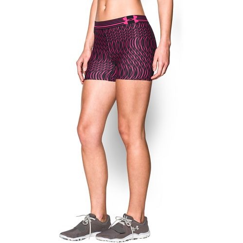 Womens Under Armour Heatgear Armour Compression Printed Shorty Lined Shorts - Black/Rebel Pink L