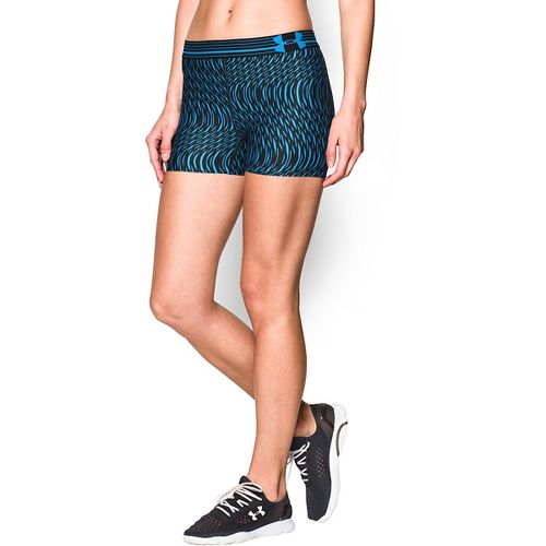Womens Under Armour Heatgear Armour Compression Printed Shorty Lined Shorts - Black/Jazz Blue L