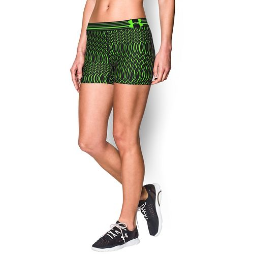 Womens Under Armour Heatgear Armour Compression Printed Shorty Lined Shorts - Black/Hyper Green XL