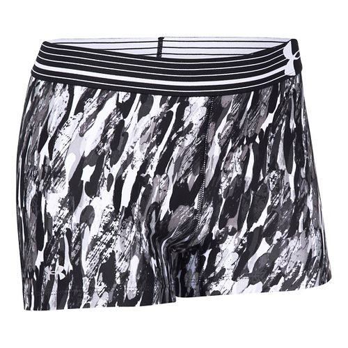 Womens Under Armour Heatgear Armour Compression Printed Shorty Lined Shorts - White/Aluminum L
