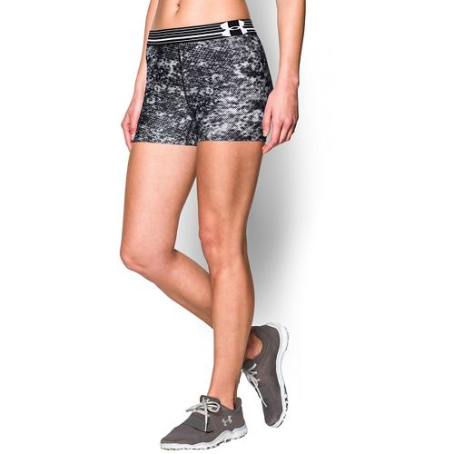 Womens Under Armour Heatgear Armour Compression Printed Shorty Lined Shorts - White/Black XS