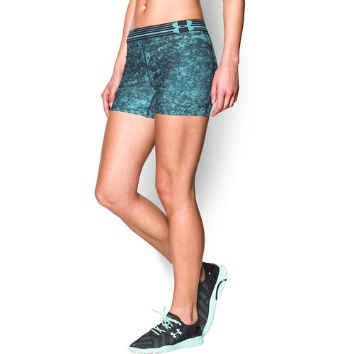 Womens Under Armour Heatgear Armour Compression Printed Shorty Lined Shorts - Veneer/Black L