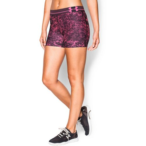 Womens Under Armour Heatgear Armour Compression Printed Shorty Lined Shorts - Pink Punk/Black L