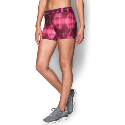 Womens Under Armour Heatgear Armour Compression Printed Shorty Lined Shorts - Ox Blood/Pink M