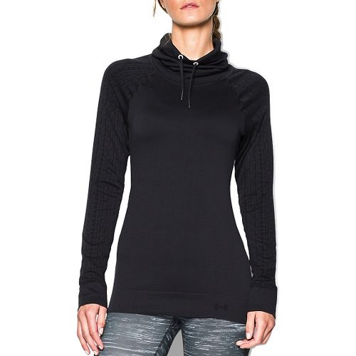 Womens Under Armour Seamless Funnel Neck Long Sleeve No Zip Technical Tops - Black L ...