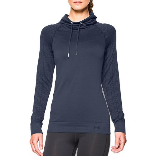 Womens Under Armour Seamless Funnel Neck Long Sleeve No Zip Technical Tops - Mechanic Blue ...