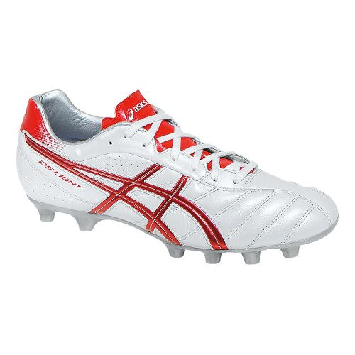Mens ASICS DS Light 6 Cleated Shoe - Pearl White/Red 5.5