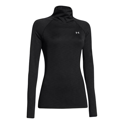 Womens Under Armour Coldgear Cozy Neck Long Sleeve No Zip Technical Tops - Black L ...