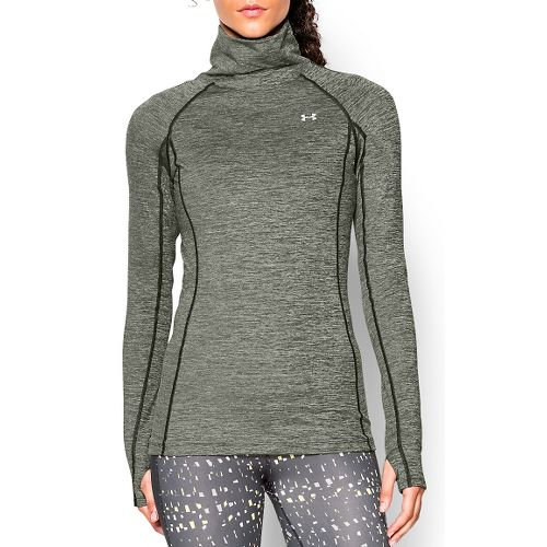 Womens Under Armour Coldgear Cozy Neck Long Sleeve No Zip Technical Tops - Green/Silver L ...