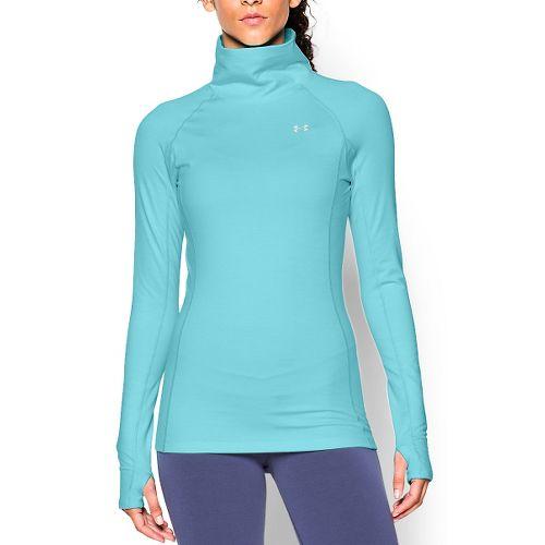 Womens Under Armour Coldgear Cozy Neck Long Sleeve No Zip Technical Tops - Veneer/Silver M
