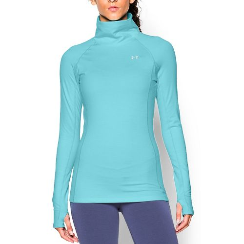 Womens Under Armour Coldgear Cozy Neck Long Sleeve No Zip Technical Tops - Veneer/Silver XS ...