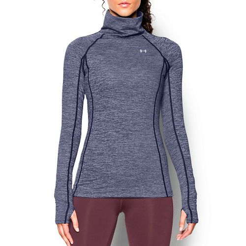 Womens Under Armour Coldgear Cozy Neck Long Sleeve No Zip Technical Tops - Blue Knight/Silver ...