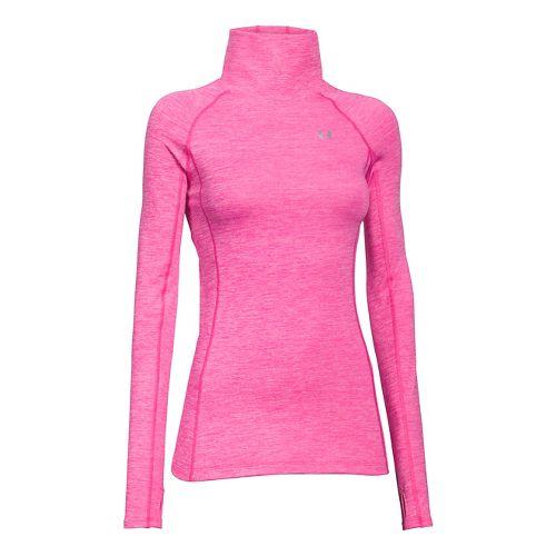 Womens Under Armour Coldgear Cozy Neck Long Sleeve No Zip Technical Tops - Rebel Pink ...