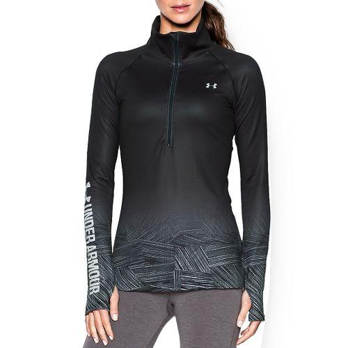 Womens Under Armour Coldgear Sublimated 1/2 Zip Technical Tops - Black/White XL