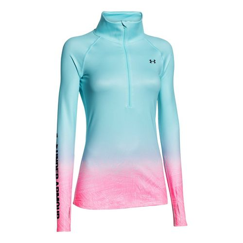 Womens Under Armour Coldgear Sublimated 1/2 Zip Technical Tops - Veneer/Silver M