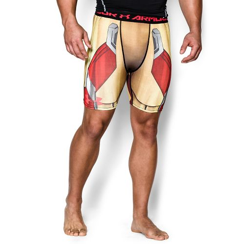 Mens Under Armour Iron Man Compression Unlined Shorts - Vegas Gold/Red L