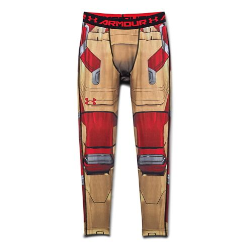 Mens Under Armour Iron Man Compression Legging Full Length Tights - Vegas Gold/Red XL