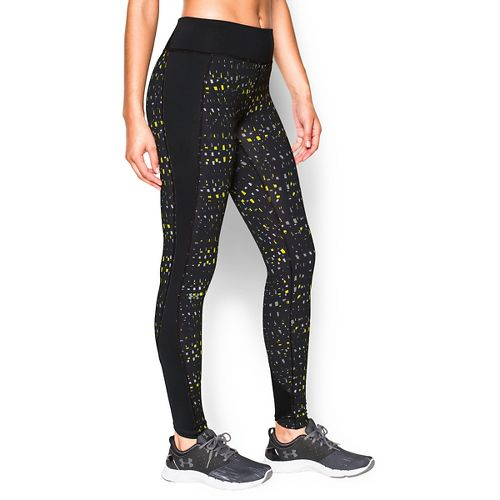 Womens Under Armour Coldgear Printed Legging Full Length Tights - Black/Flash Light XL