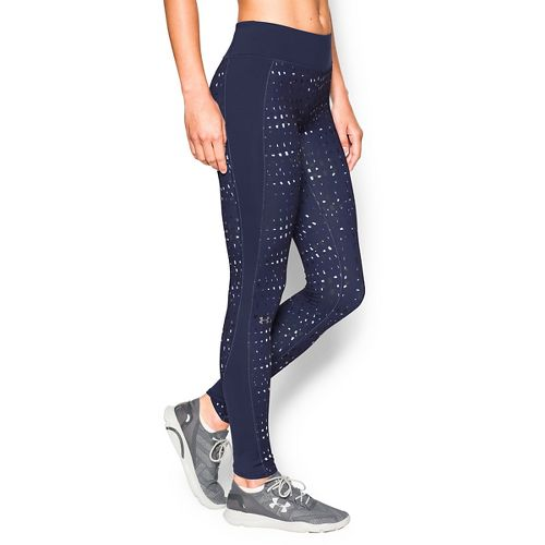 Womens Under Armour Coldgear Printed Legging Full Length Tights - Blue Knight/Veneer XL