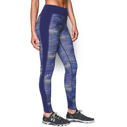 Womens Under Armour Coldgear Printed Legging Full Length Tights - Europa Purple/Silver M