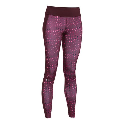 Womens Under Armour Coldgear Printed Legging Full Length Tights - Ox Blood/Rebel Pink S
