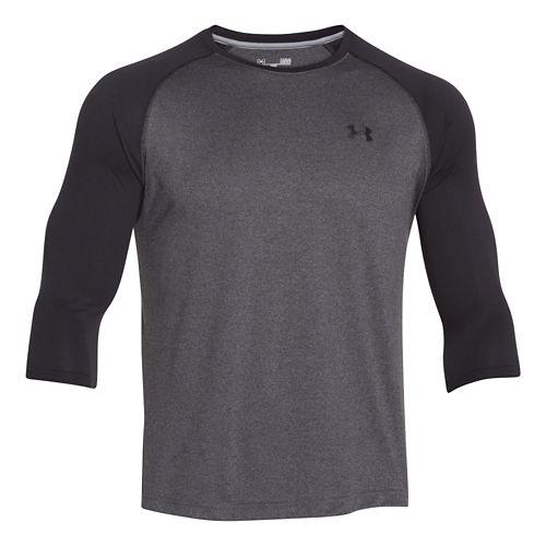 Mens Under Armour Tech 3/4 Sleeve T Long Sleeve No Zip Technical Tops - Black/Carbon ...