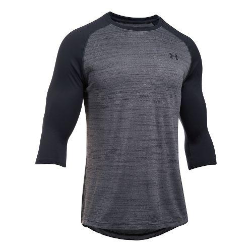 Mens Under Armour Tech 3/4 Sleeve T Long Sleeve No Zip Technical Tops - Black/Black XXL