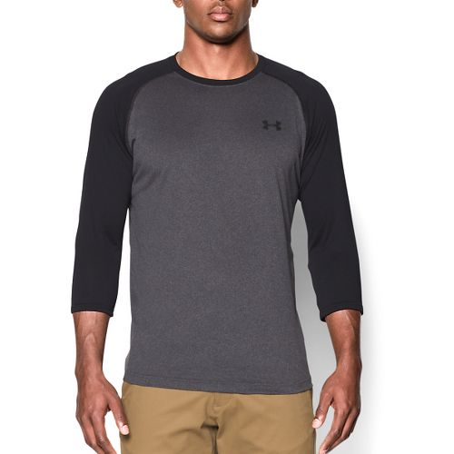 Mens Under Armour Tech 3/4 Sleeve T Long Sleeve No Zip Technical Tops - Carbon ...