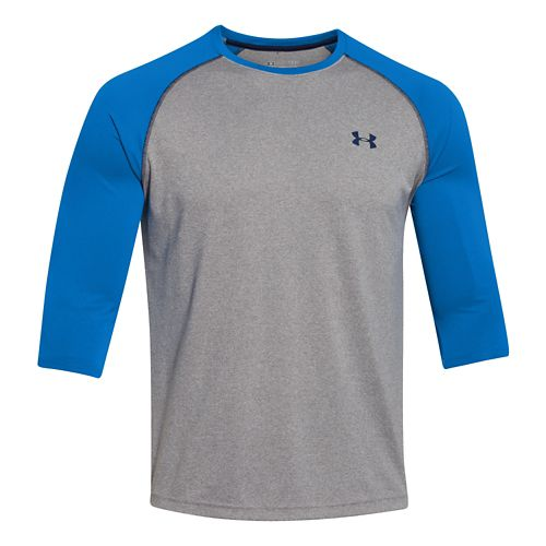Mens Under Armour Tech 3/4 Sleeve T Long Sleeve No Zip Technical Tops - Blue ...