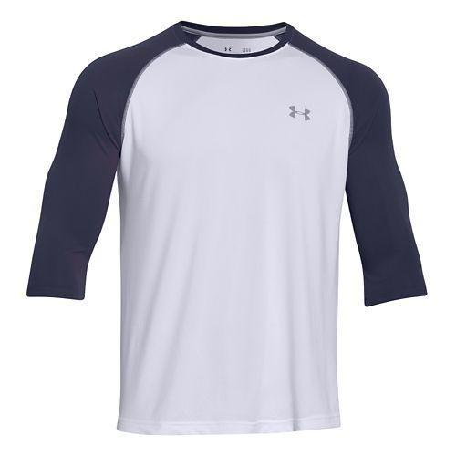 Mens Under Armour Tech 3/4 Sleeve T Long Sleeve No Zip Technical Tops - Midnight ...