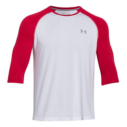 Mens Under Armour Tech 3/4 Sleeve T Long Sleeve No Zip Technical Tops - Red/White ...