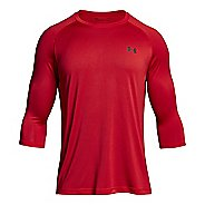 Mens Under Armour Tech 3/4 Sleeve T Long Sleeve No Zip Technical Tops - Charcoal M