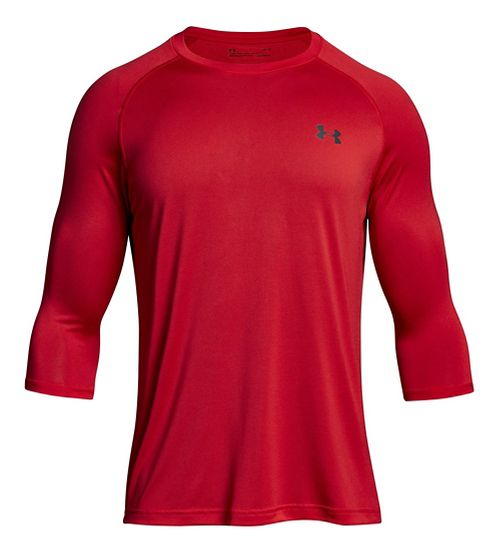 Mens Under Armour Tech 3/4 Sleeve T Long Sleeve No Zip Technical Tops - Pierce Red XL