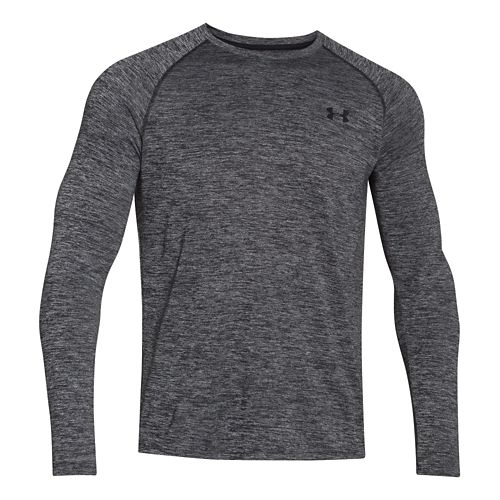 Mens Under Armour Tech Patterned T Long Sleeve No Zip Technical Tops - Black/Twist XL ...