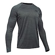 Mens Under Armour Tech Patterned T Long Sleeve No Zip Technical Tops - Black/Black L