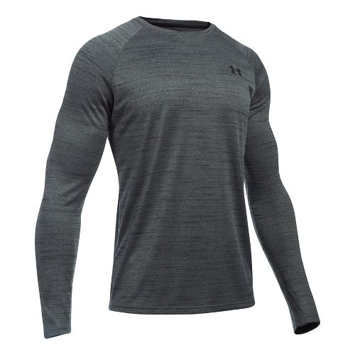 Mens Under Armour Tech Patterned T Long Sleeve No Zip Technical Tops - Black/Black XXL