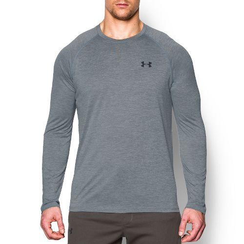 Mens Under Armour Tech Patterned T Long Sleeve No Zip Technical Tops - Steel M ...