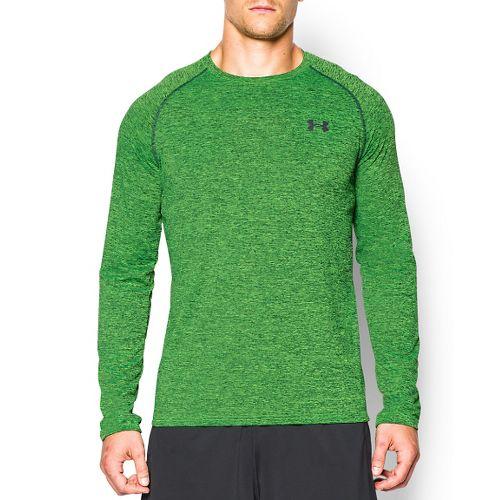 Mens Under Armour Tech Patterned T Long Sleeve No Zip Technical Tops - Hyper Green ...
