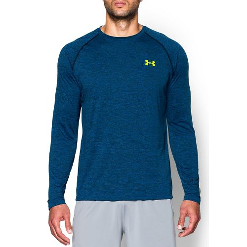 Mens Under Armour Tech Patterned T Long Sleeve No Zip Technical Tops - Blue Jet/Yellow ...