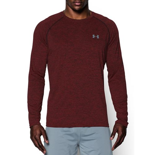 Mens Under Armour Tech Patterned T Long Sleeve No Zip Technical Tops - Red/Steel S ...