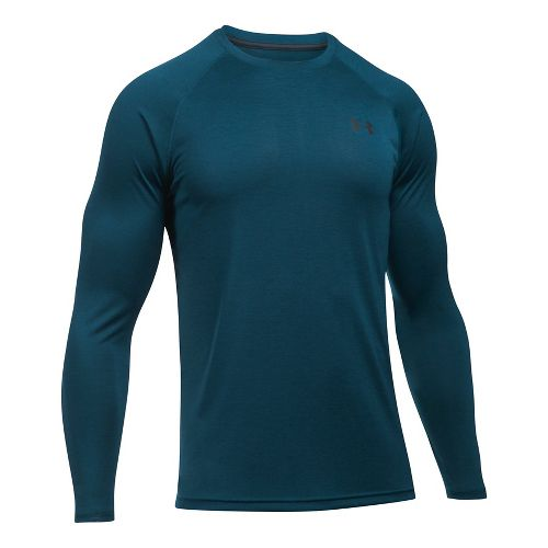 Mens Under Armour Tech Patterned T Long Sleeve No Zip Technical Tops - True Ink XXL