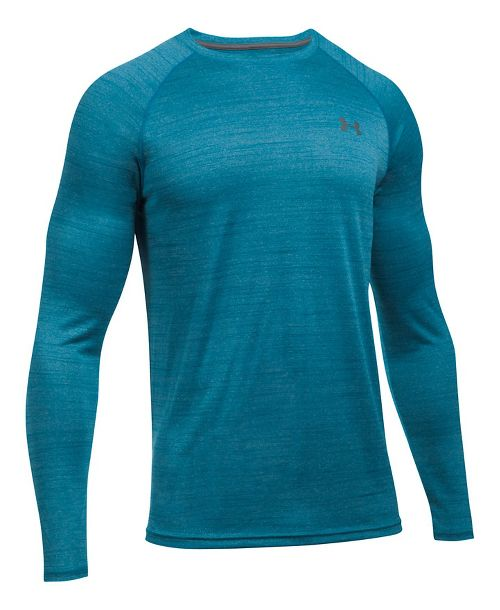 Mens Under Armour Tech Patterned T Long Sleeve No Zip Technical Tops - Bayou Blue 3XL