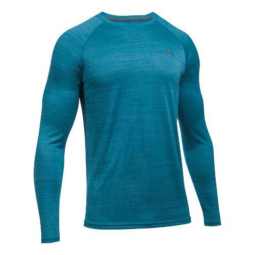 Mens Under Armour Tech Patterned T Long Sleeve No Zip Technical Tops - Bayou Blue 3XL