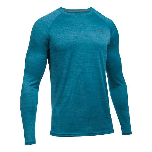 Mens Under Armour Tech Patterned T Long Sleeve No Zip Technical Tops - Bayou Blue XXL